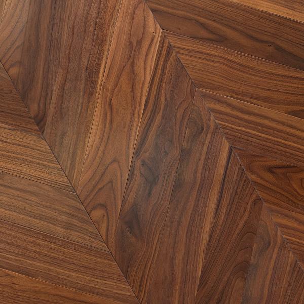 american walnut timber chevron parquetry