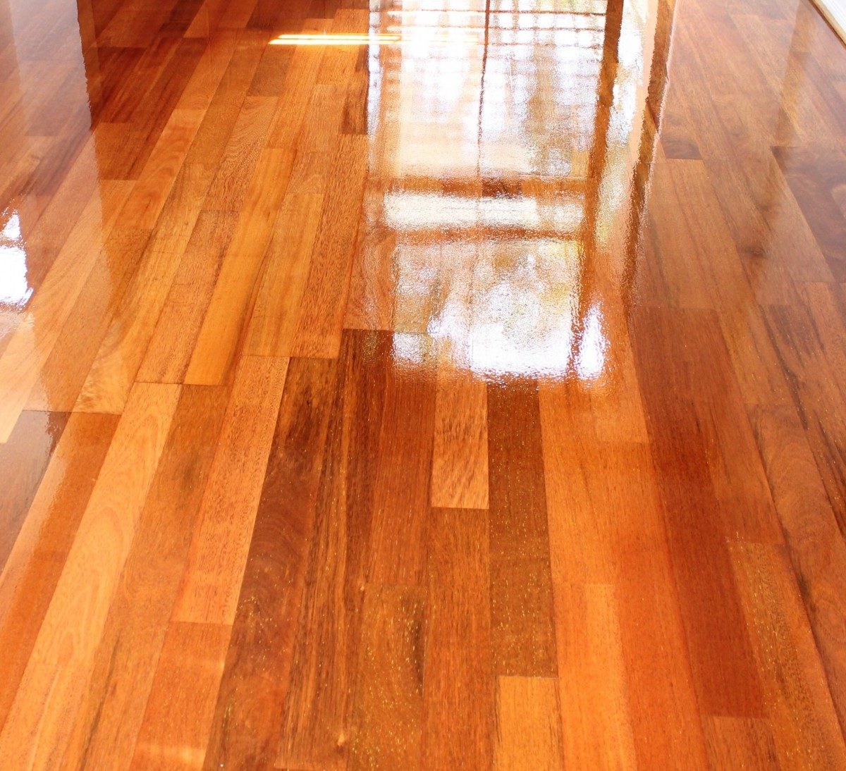 Floor sanding and polishing of Merbau Engineered Benowa Waters Gold Coast QLD application of 2 coats of polyurethane
