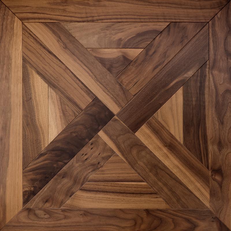 Traditional American walnut trianon mosaic timber floor