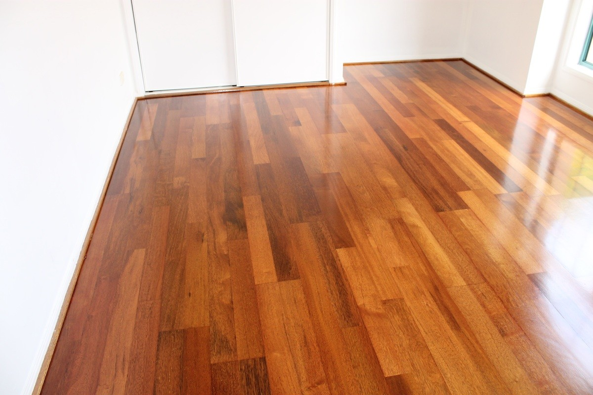 floor sanding and polishing Merbau Engineered timber flooring Benowa Waters Gold Coast QLD third coat