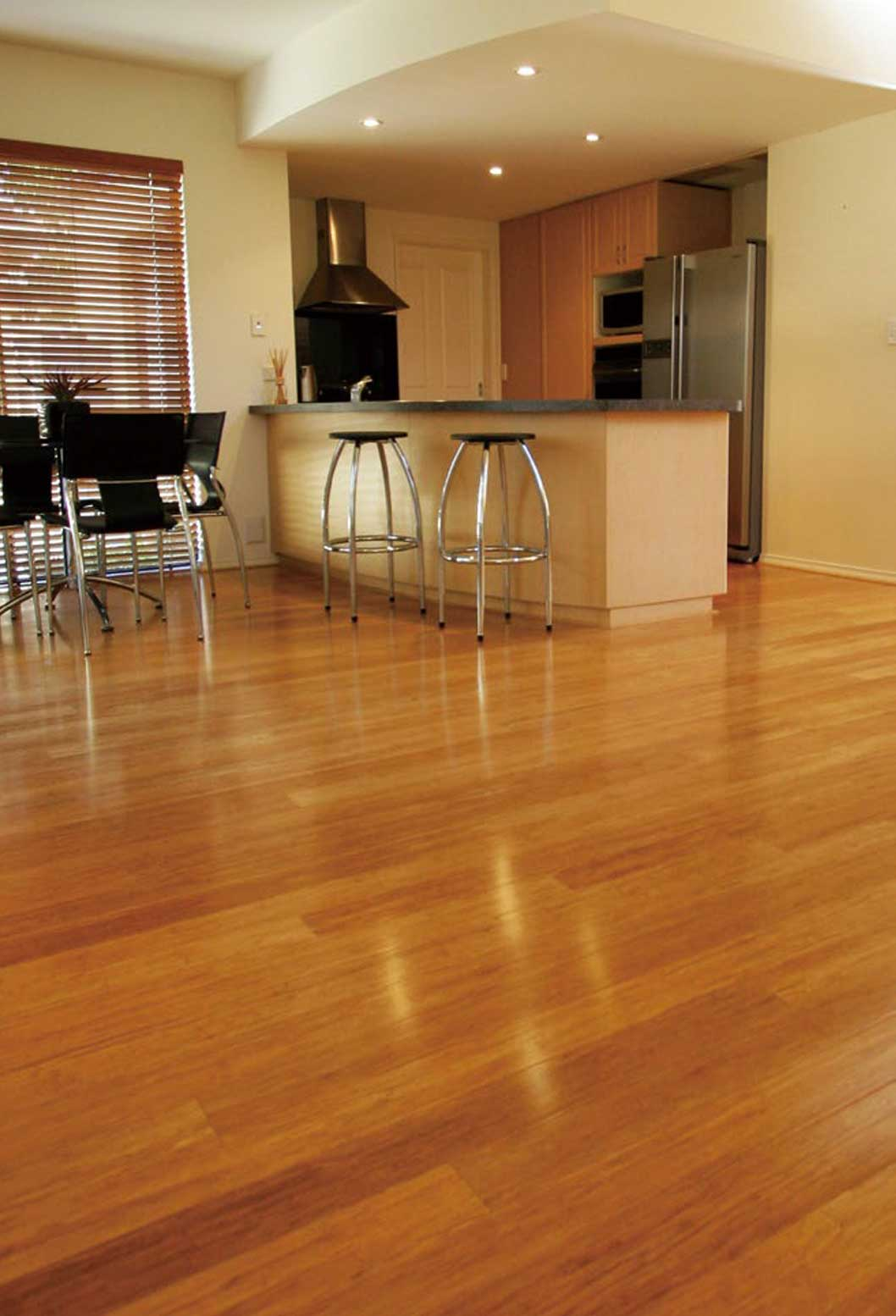Bamboo flooring in a kitchen