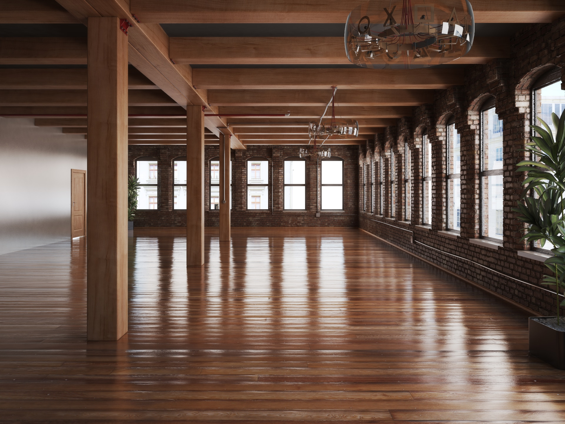 wood accent empty room PDR8YP8