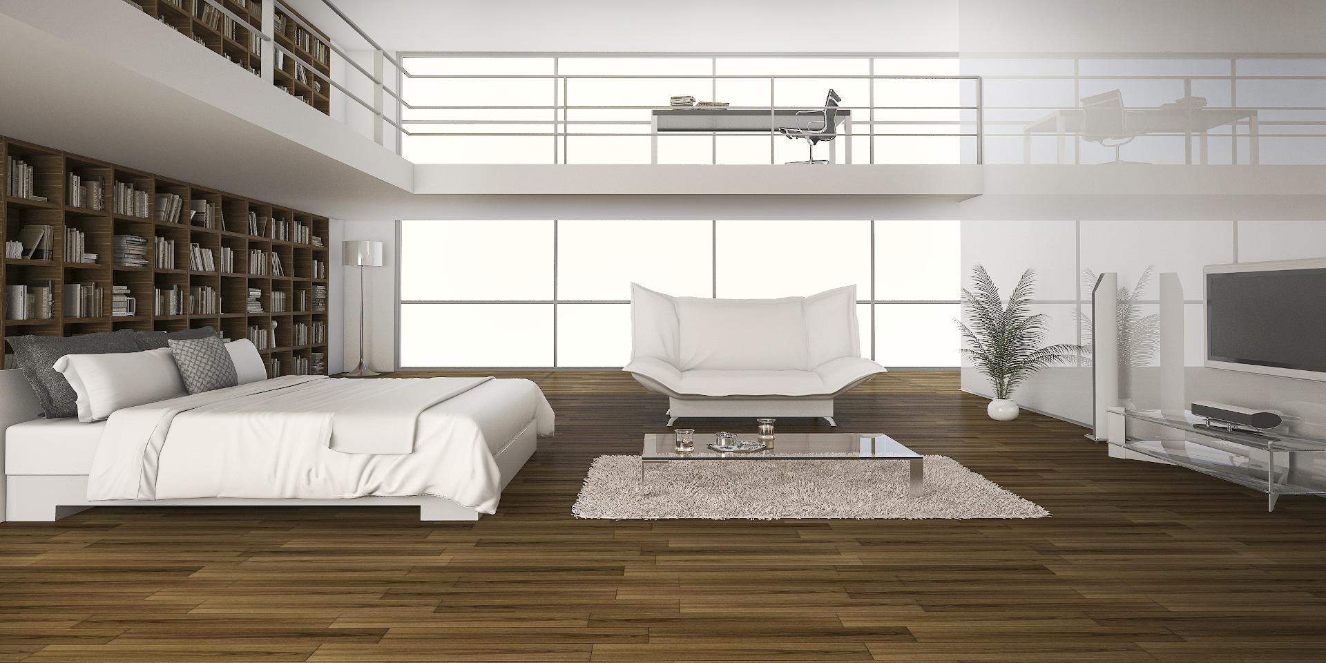 3d rendering oak wood floor with bed in double spa N95X7YD
