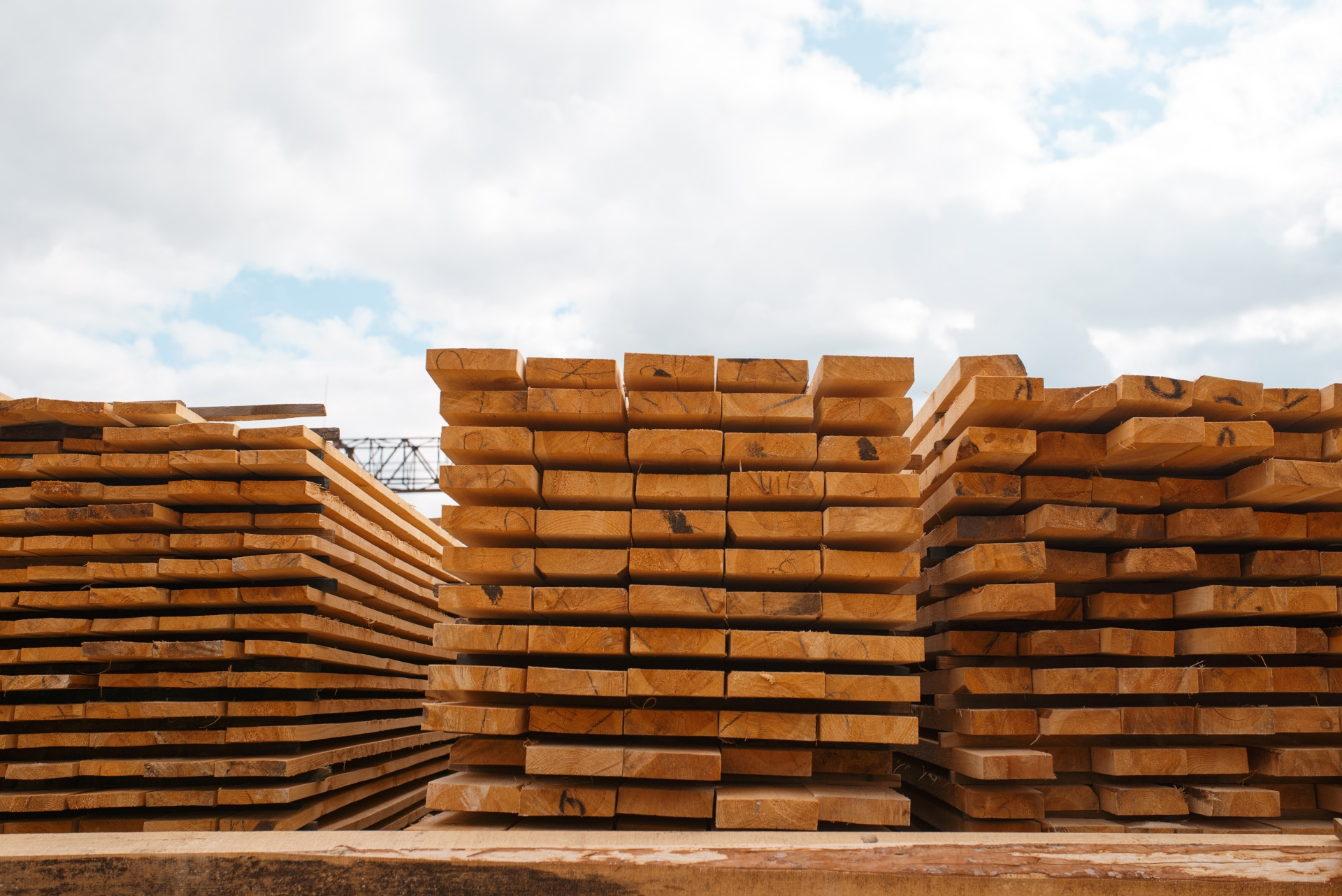 stacks of boards on timber mill warehouse LPHVKWA
