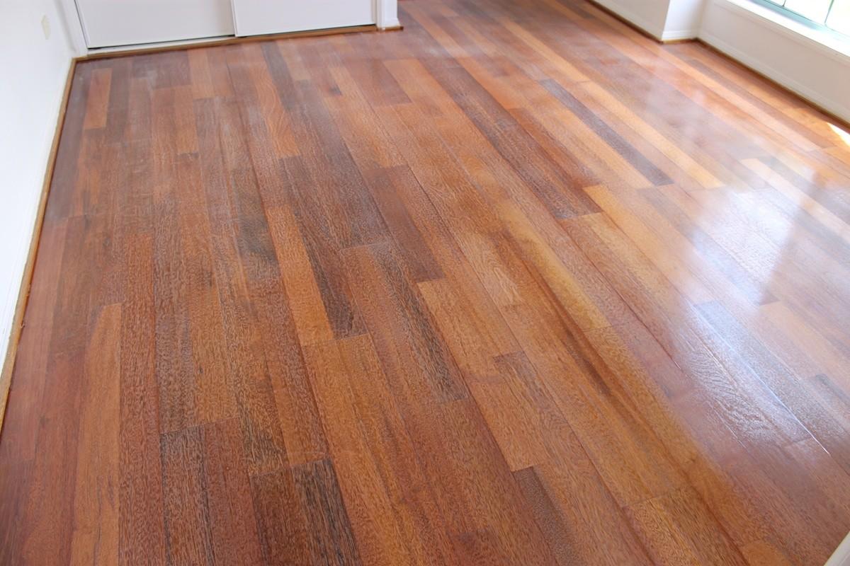 Floor sanding and polishing of Merbau Engineered Benowa Waters Gold Coast QLD buffering after 2 coats of warnish copy